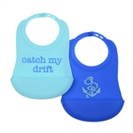 100% Silicone Bib with crumb catcher (set of 2). No bpa, phthalates, or lead. Rolls up easily for travel.