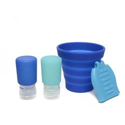 100% Silicone travel bath set: 2 2oz bottles (with no drip valve), collapsible bucket, and lathering mitt for bath time anywhere