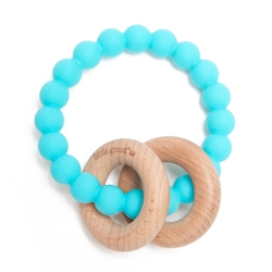 Little Great 100% Silicone Teether with Wood Rings that Rattle