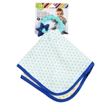 CB GO By Chewbeads Cotton Lovey with 100% Silicone Teether. No bpa, phthalates, or lead. Includes pacifier attachment loop.